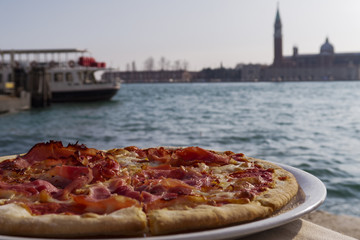Venice, Italy pizza by the lagoon.