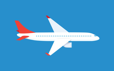 Airplane. Passenger plane in the blue background