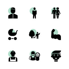 Male icons. vector collection filled male icons set.
