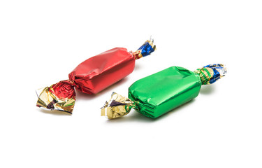 chocolate candy in wrapper isolated