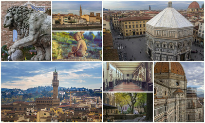 Collage of photos of attractions Florence Italy