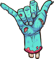 Severed zombie hand making the hang loose hand sign. Vector clip art illustration with simple gradients. All in a single  layer.