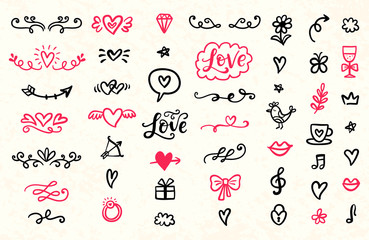 Set of Valentine's Day hand drawn doodles icons