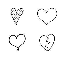Set of hand drawn hearts for Valentine's Day, Mother's Day or Women's Day. Vector.