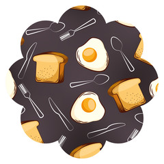 frame with eggs and cutlery pattern background