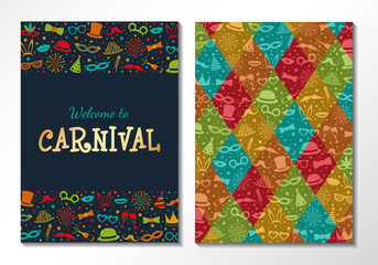Invitation for Carnival Party - two sided cards with funny masks. Vector.
