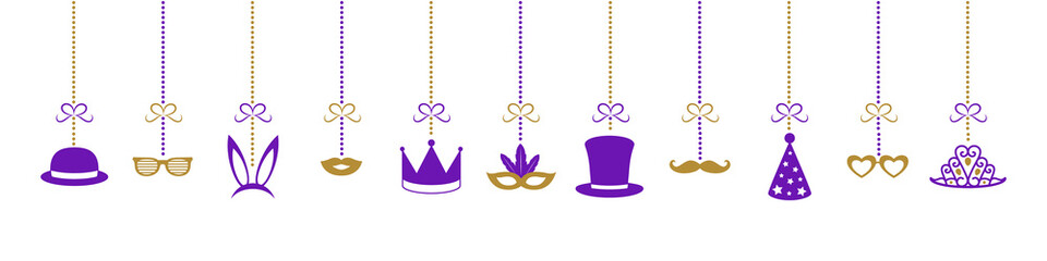 Hanging decorations for carnival, birthday party or photobooth. Vector.