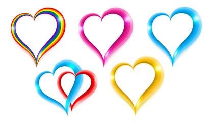 Set color heart shape symbol of love