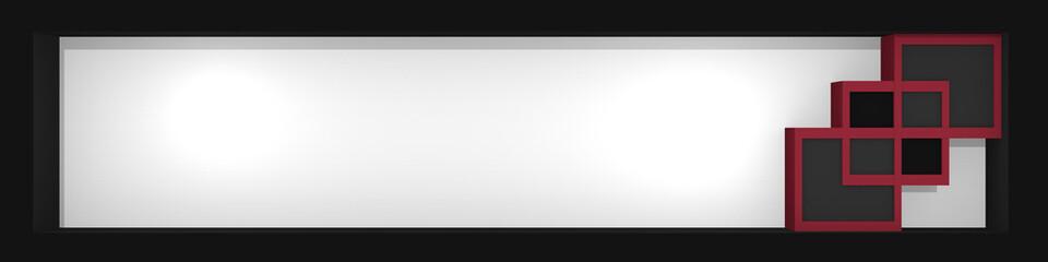 Header / Banner mit Würfeln in altrosa, grau, weiß und schwarz. 3d render
