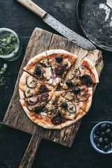 Food: Homemade vegetarian pizza with grilled zucchini