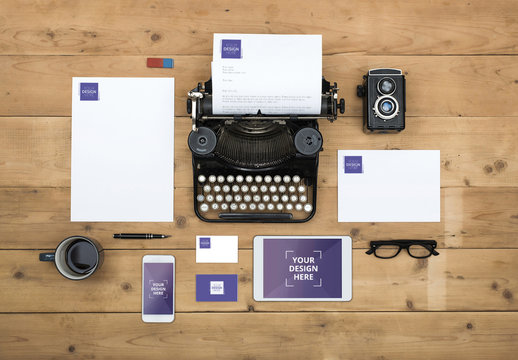 Typewriter with Devices, Stationery and Accessories Mockup 1