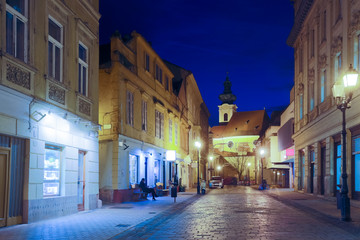 Image of night streets of Gyor in Hungary