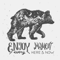 Hand drawn vector illustration bear with double exposure.