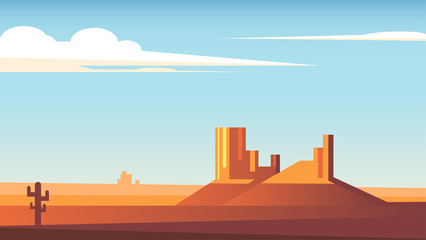 Cartoon desert landscape with cactus, hills and clouds flat vector illustration. Two rocks in the middle of the desert and a blue sky with clouds