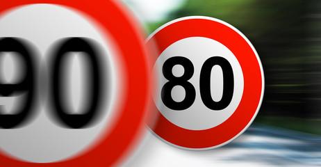 90km/h et 80km/h vitesse en France 1er juillet 2018 sur la route départementale limitation de vitesse