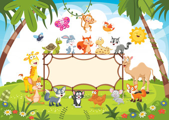Animals Banner Vector Illustration