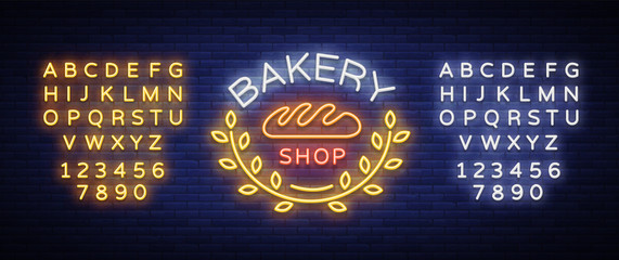 Bakery products logo, fresh bread, loaf. Neon sign, bright banner, shining symbol on the topic of fresh pastries and bakery products. Vector illustration. Editing text neon sign. Neon alphabet