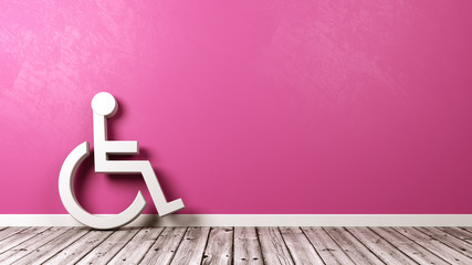 Wheelchair Symbol Against Wall with Copyspace