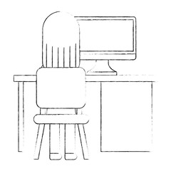 office desk and chair with worker