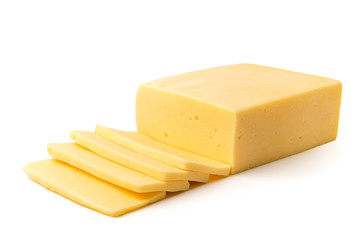 Cheese cut into slices on a white, closeup.