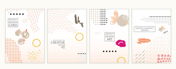 Minimal universal card templates in Memphis style hand drawn doodles gradient