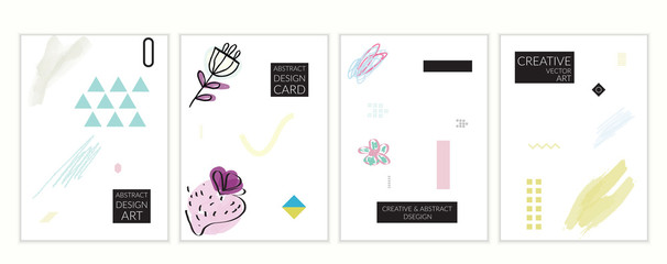 Artistic minimal universal card templates in Memphis style