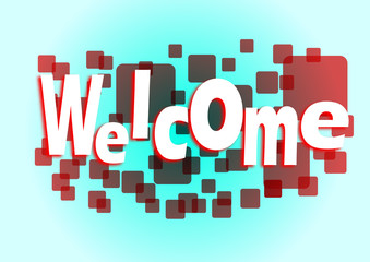 Welcome red squares banner