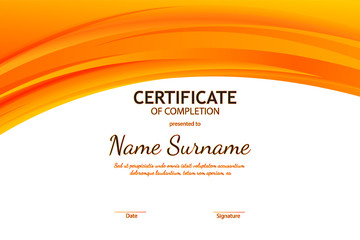 Certificate of completion template with orange dynamic wavy light background. Vector