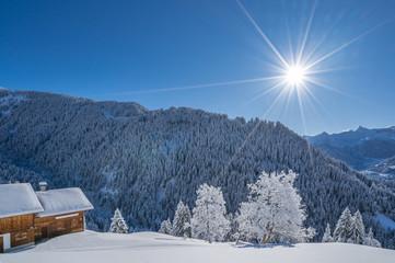 Fototapete - Verschneite Winterlandschaft in den Alpen