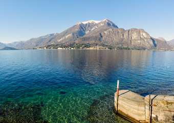 Clear water of Como lake, Lombardy, Italy