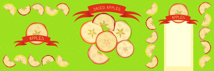 Vector Dried Apples Set Design chopped slices of apples. Ribbon with an inscription