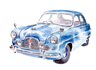 Watercolor blue old car