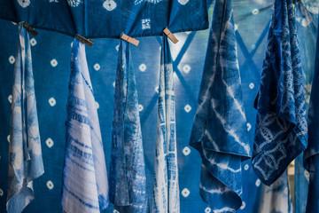 Shibori indigo fabric