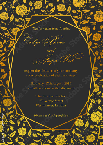 Wedding Invitation Roses Floral Invite Card Design With