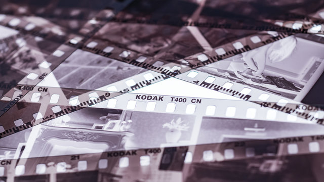 London, England - January 05, 2018: Exposed and Developed 35mm Kodak film negative strips, Eastman Kodak Company was founded in 1888