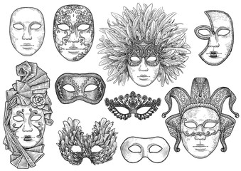 Venetian mask illustration, drawing, engraving, ink, line art, vector