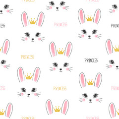 Seamless bunny princess pattern. Vector background for kids design
