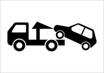 Car Towing Truck Vector Illustration on white background