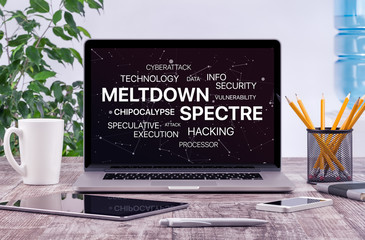 Meltdown and spectre threat concept on laptop screen in office workplace