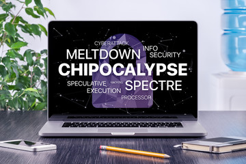 Chipocalypse concept with meltdown and spectre threat on laptop screen in office workspace