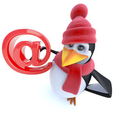 3d Fun caratoon winter penguin holding an email address symbol