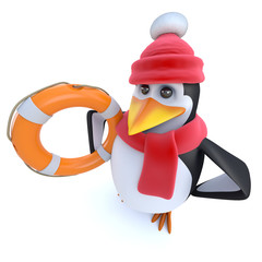 3d Funny cartoon winter penguin holding a life ring bouyancy aid