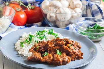 Beef Stroganoff served with rice