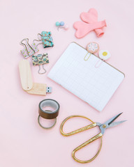 Office Supplies On Pink