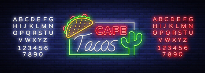 Taco logo vector. Neon sign on Mexican food, Tacos, street food, fast food, snack. Bright neon billboards, shining nightly ads of tacos, Mexican food, cafes, restaurants. Editing text neon sign