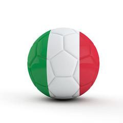 Italy flag soccer football against a plain white background. 3D Rendering