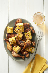 Grilled Mexian Chicken Legs and Corn on the Cob