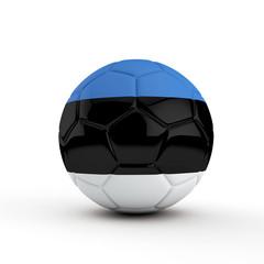 Estonia flag soccer football against a plain white background. 3D Rendering