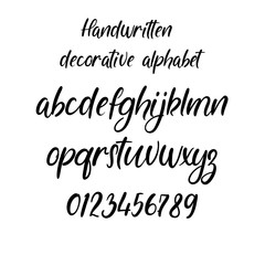 Decorative calligraphic alphabet. Handwritten brush letters. Hand drawn ABC for your Designs: wallpaper, pattern, poster, postcard, logo, wedding invitation. Vector Illustrations.