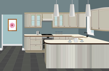 Kitchen interior background with furniture. Design of modern kitchen. Symbol furniture, kitchen illustration